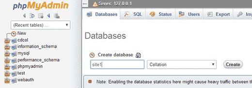 Creating database using phpMyAdmin