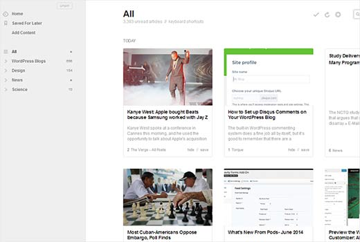 Feedly's neat web interface designed for better reading experience