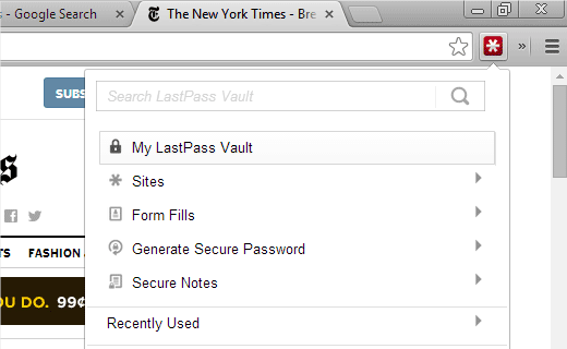 LastPass in action on Google Chrome