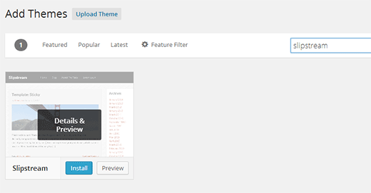 Searching for a free theme to install from WordPress.org directory