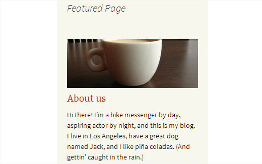 Featuring a page in WordPress sidebar