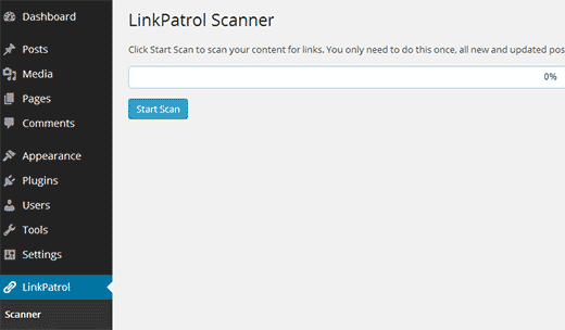 Scan your WordPress site for outbound links