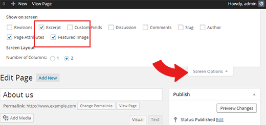 Show excerpt and featured image boxes for pages on post editor screen in WordPress