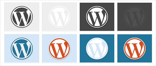 Examples of WordPress color palette used with WordPress logo