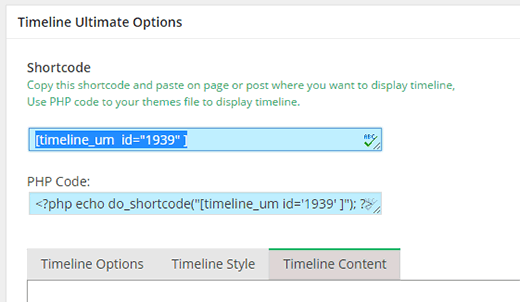 Copy and paste this shortcode to display your timeline
