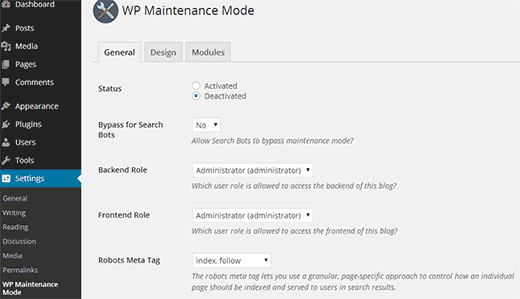 WP Maintenance Mode settings
