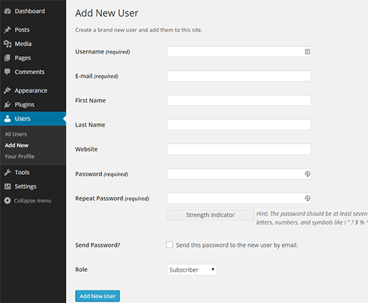 Adding a new user in WordPress
