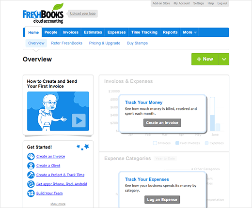 Freshbooks dashboard
