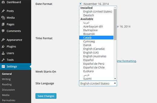 Choosing a language for WordPress admin area from Settings screen