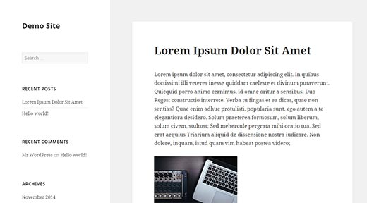 Twenty Fifteen default WordPress theme