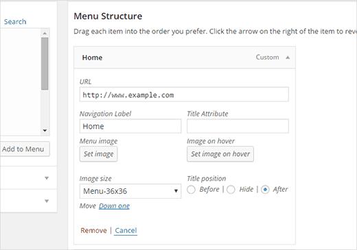 Uploading a menu image