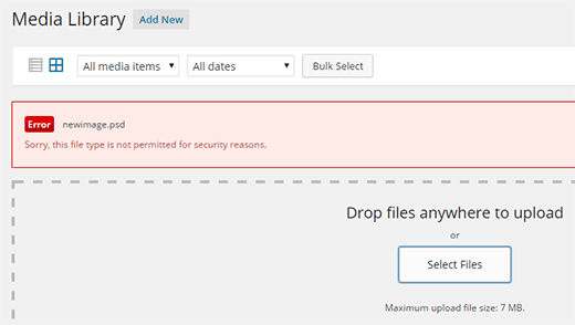 WordPress upload error: This file type not permitted for security reasons.