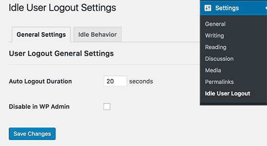 Settings page for Idle User Logout plugin
