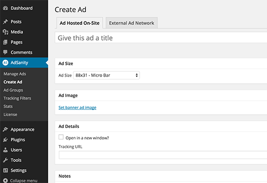 Create new ad screen in Adsanity