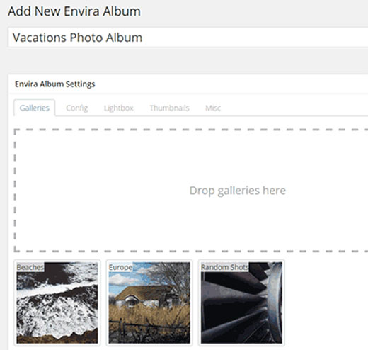 Add New Albums in Envira