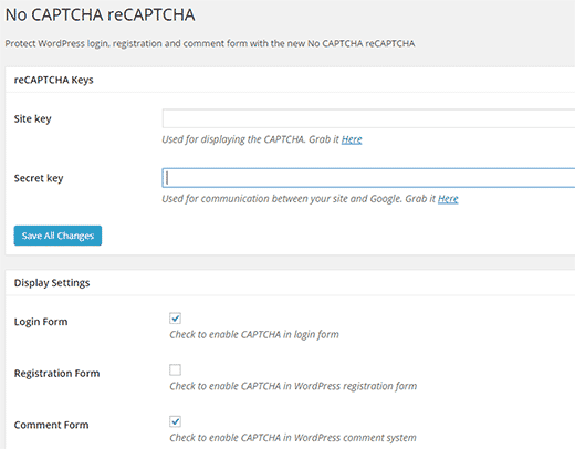 NoCAPTCHA reCAPTCHA plugin settings