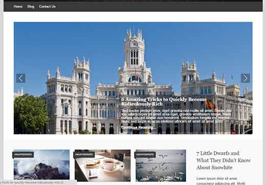 Example of a featured content slider in WordPress