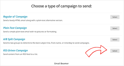 Creating RSS campaign in MailChimp