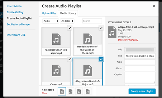 Creating an audio playlist in WordPress