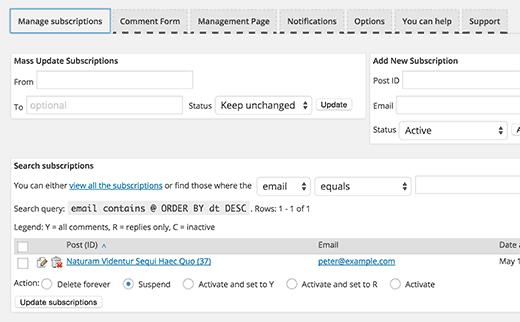Manage comment subcriptions
