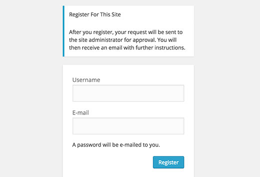 Moderate new user registration in WordPress