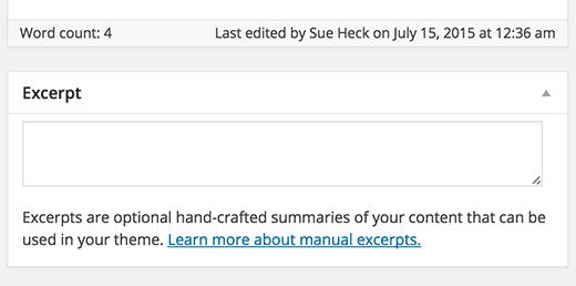 Caixa de trecho na tela de edição de post do WordPress