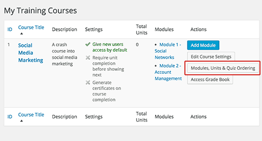Adding units and quizzes to courses and modules