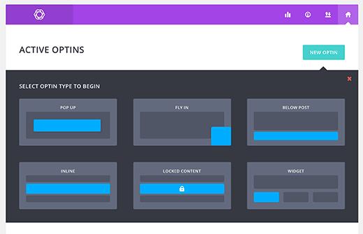 Tipos Optin disponibles en Bloom
