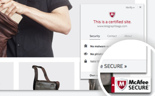cAfee SECURE Trust seal on a WordPress site