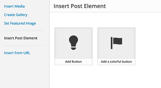 Selecting post element or shortcode to insert
