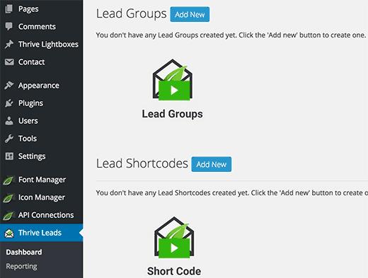 ThriveLeads viene con una interfaz de usuario abarrotada y abarrotada
