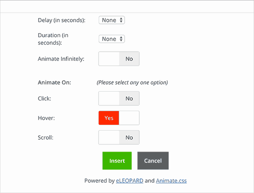 Selecteer wanneer de animatie moet worden uitgevoerd