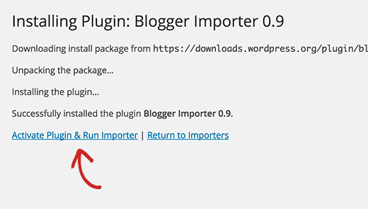 Activate and run blogger importer