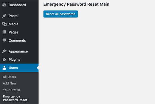 Reset all passwords in WordPress