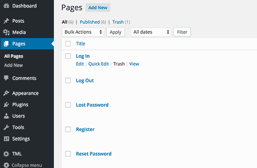 Theme My Login Pages for frontend login, registration, password reset, and logout.
