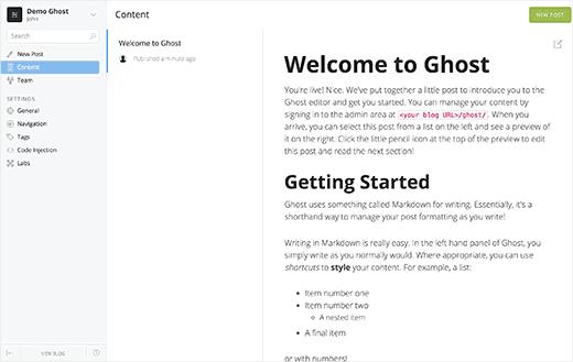Ghost admin area