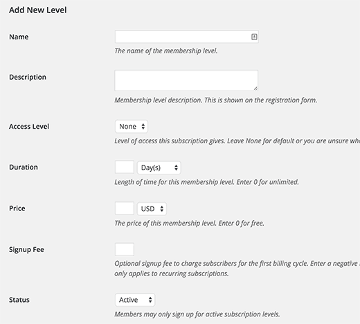 Adding new subscription level in Restrict Content Pro