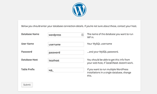 Enter your database information for WordPress installation