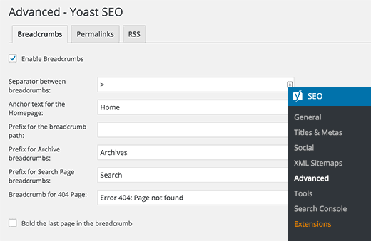 Yoast breadcrumb settings