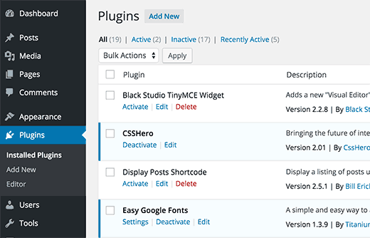 Installed plugins on a WordPress site