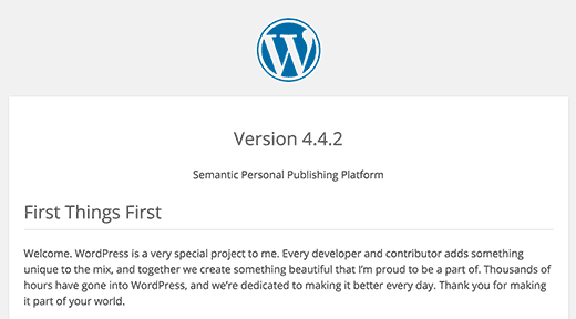 WordPress readme file