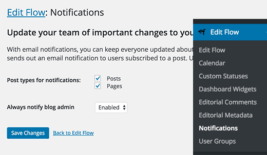 Edit Flow notifications