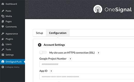 OneSignal WordPress plugin settings
