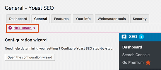 Settings in Yoast SEO