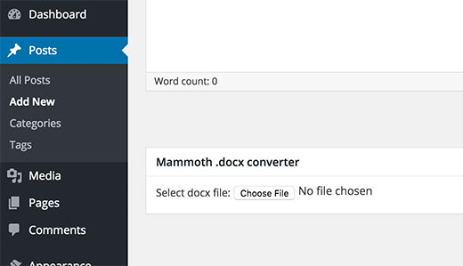 Mammoth docx converter in WordPress