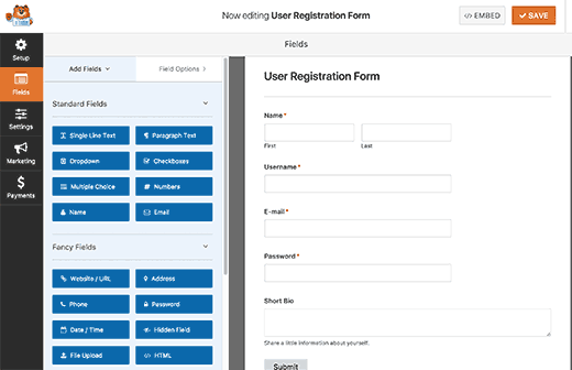 Editing user registration form