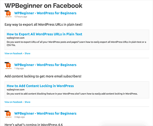 Preview of a custom Facebook feed in WordPress
