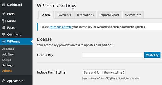 WPForms-licentiesleutel toevoegen