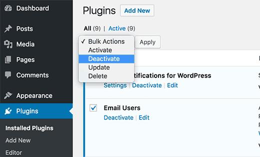 Wählen Sie alle Plugins in WordPress aus und deaktivieren Sie sie