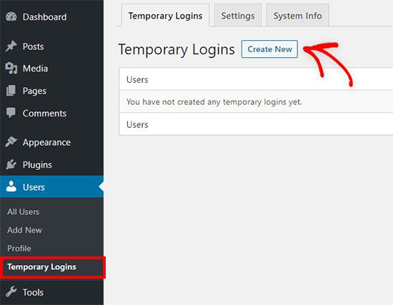 Adding a new temporary login in WordPress